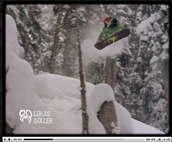 Lukas Goller, riding pow in Eu