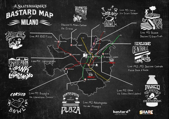 Skateboarder_bastard_Map_of_Milano-poster